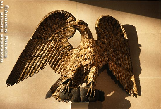A colonial era wooden eagle in the Metropolitan Museum's American Wing, New York City