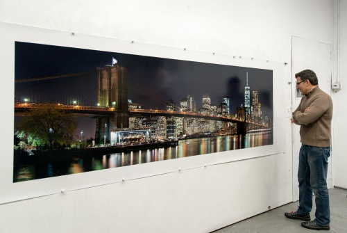 Panoramic View of Brooklyn Bridge at Night 120 inch wide limited edition print by photographer Andrew Prokos