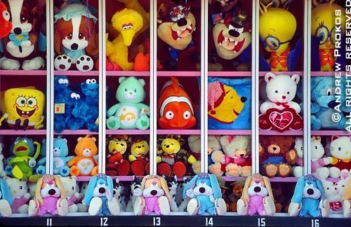 Colorful stuffed animals await you at Coney Island's game arcade