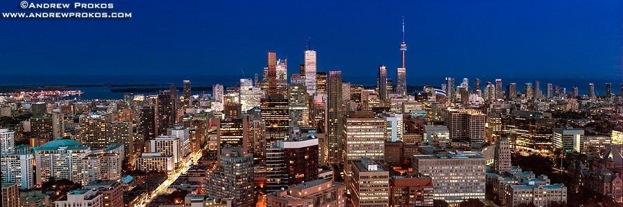 A panoramic cityscape of Toronto, Canada at Night