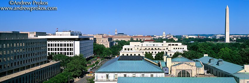 A view of the Federal buildings along Constitution Avenue, Washington DC