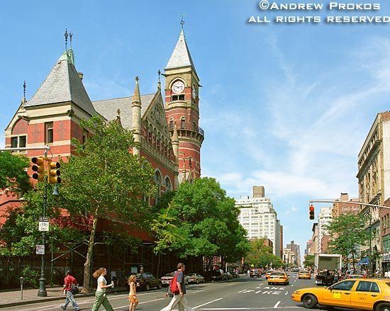 A view of Sixth Avenue and the Jefferson Market Library in Greenwich Village, New York City