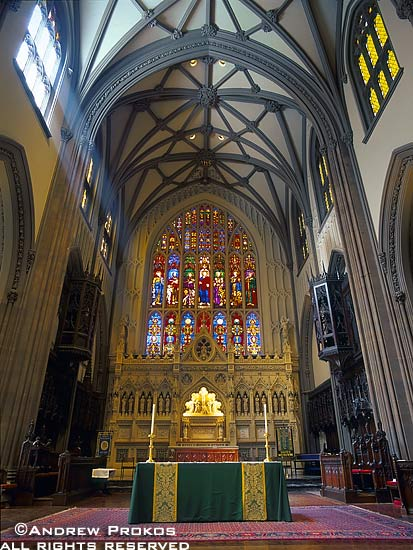 A view of the altar and interior of Trinity Church in Lower Manhattan, New York City