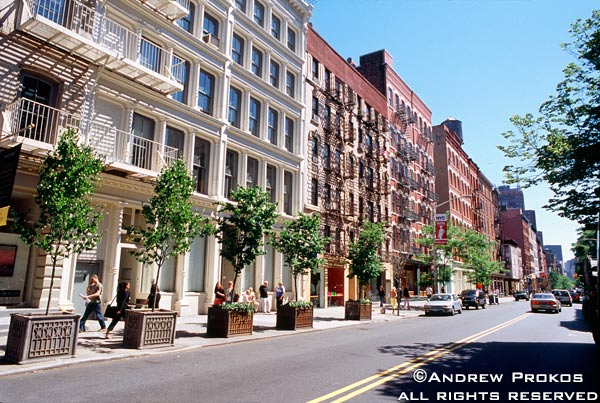 A view of Spring Street in Soho, New York City