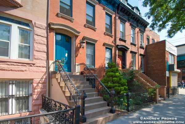 A block of brownstones along 45th Road in Long Island City, Queens. <br>
