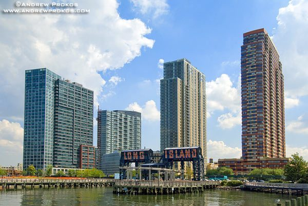 A view of the waterfront towers at Hunter's Point, Long Island City.