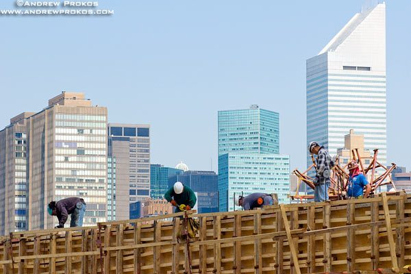 Construction workers working at a site at Hunter's Point, Long Island City, Queens