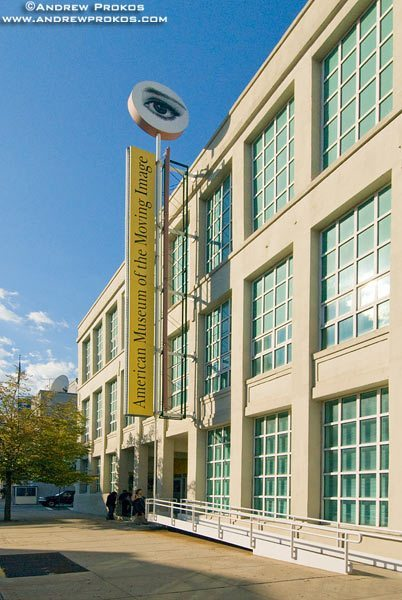 Exterior of the American Museum of the Moving Image, in Long Island City, Queens. <br>