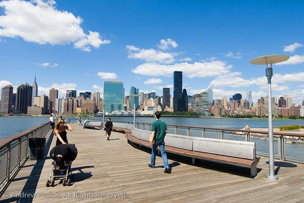 A pier with views of Manhattan at Gantry Plaza State Park, in Hunter's Point, Long Island City, Queens. <br>