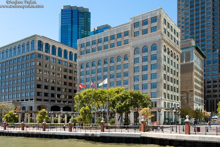 A waterfront view of Exchange Place in Jersey City, NJ
