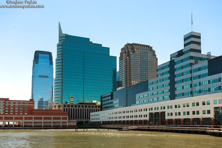 A waterfront view of Newport Pavonia in Jersey City, NJ