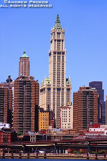 A view of the Woolworth Building as seen from the East River, New York City