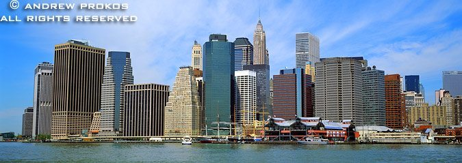 A panoramic skyline of Lower Manhattan as seen from Brooklyn, New York City