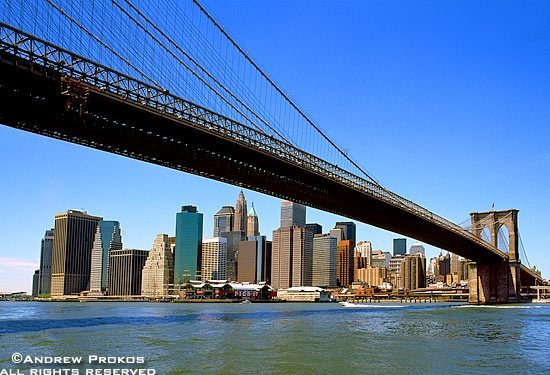 A view of Lower Manhattan under the span of the Brooklyn Bridge, New York City