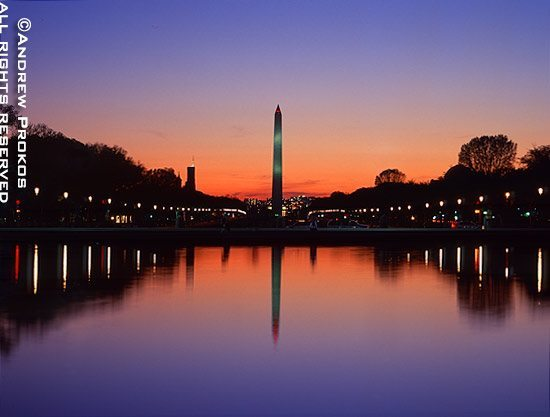A view of the Washington Monument reflected in the Reflecting Pool at dusk, Washington D.C.