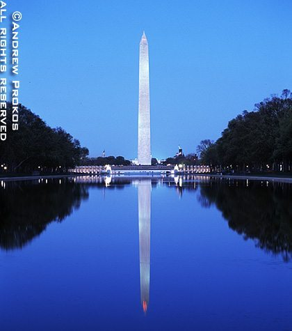 The Washington Monument and the Reflecting Pool at night, Washington D.C.