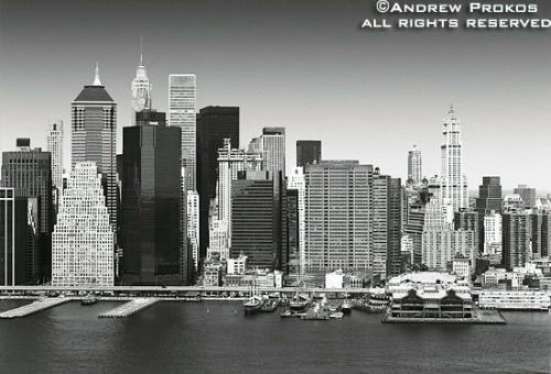 lower manhattan aerial bw