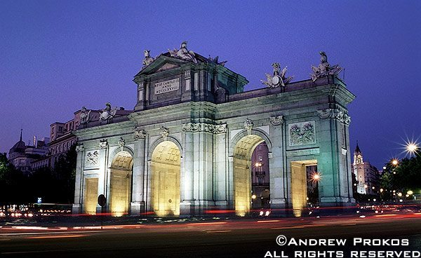 A view of the Puerta de Alcala at night, Madrid, Spain