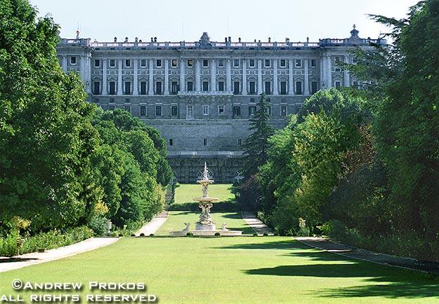 A view of the royal palace from the Campo del Moro, Madrid, Spain