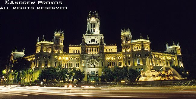 A view of the Palacio de Comunicaciones at night, Madrid, Spain