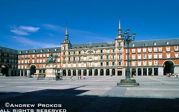 A wide angle view of the Plaza Mayor, Madrid, Spain