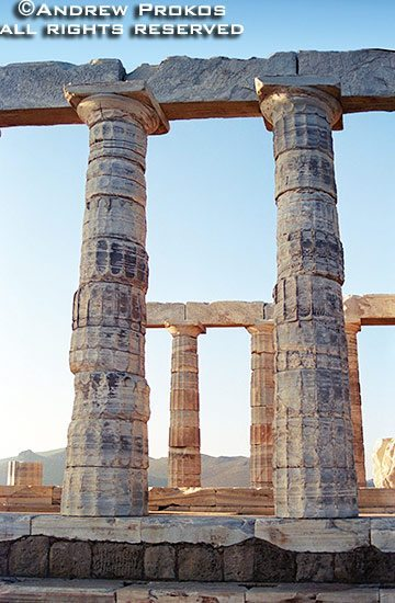 Doric columns from the Temple of Poseidon at Sounion, Greece