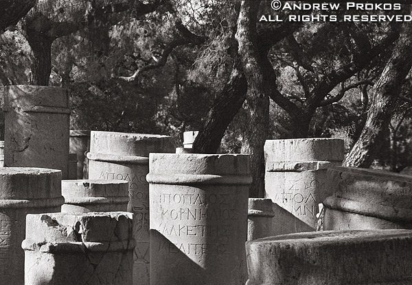 Stelae (grave markers) inscribed in Classical Greek in the ancient Keramikos Cemetery, Athens, Greece