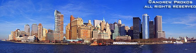 A panorama of Lower Manhattan as seen from from New York Harbor during the day