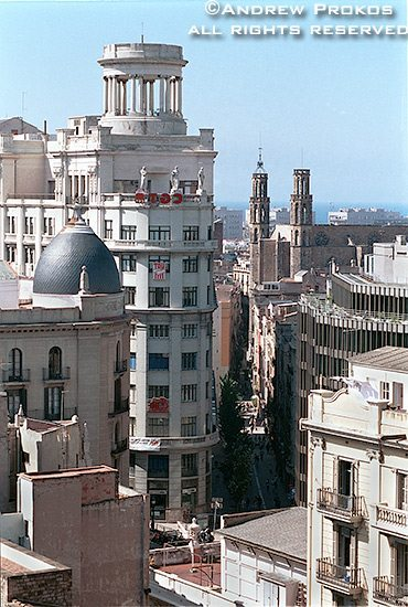 Rooftops in the Ribera district of Barcelona, Spain