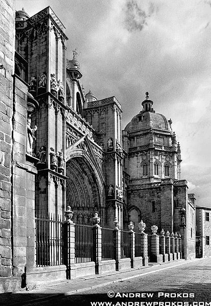Exterior of the Gothic Cathedral of Toledo, Spain