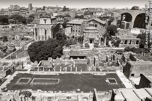 A wide angle view of the ancient Roman Forum in black and white, Rome, Italy