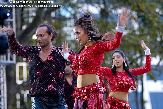 Bollywood dancers in Bryant Park, New York City