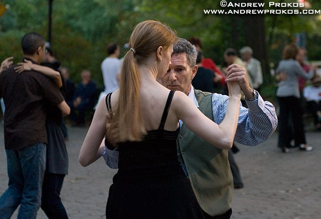 Tango dancers enjoying a late Summer's evening in Central Park, NYC