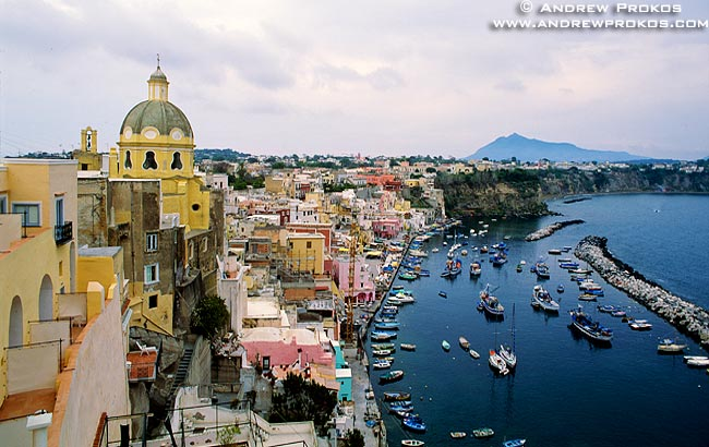 A view of the port of Corricella on the island of Procida in the Bay of Naples, Italy