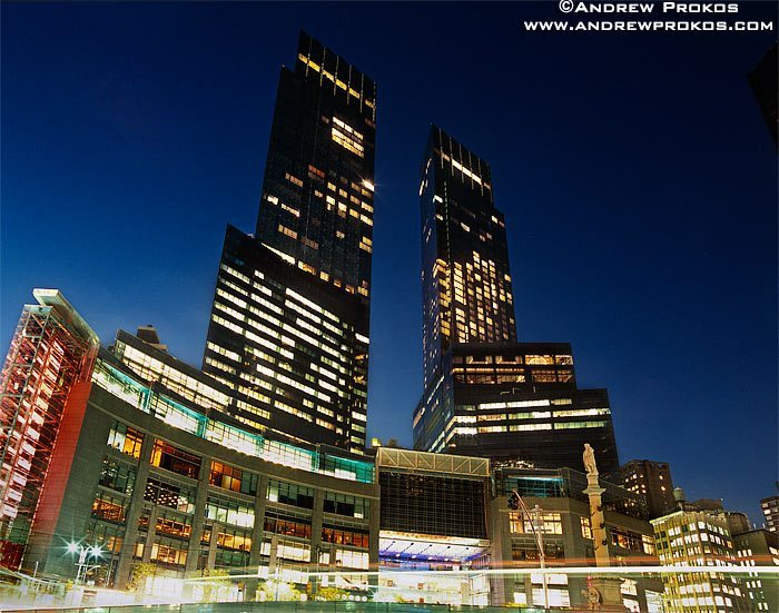 A view of Time Warner Center from Columbus Circle at night, New York City