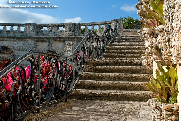 Stone steps in the gardens of Vizcaya Museum, Miami, Florida
