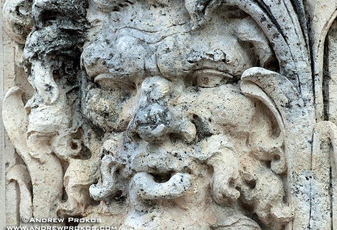An architectural detail carved from local coralstone representing Aeolus, God of the Winds, at Vizcaya Museum, Miami, Florida