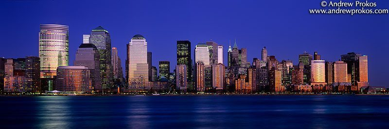 A panorama of Lower Manhattan at dusk as seen from New Jersey