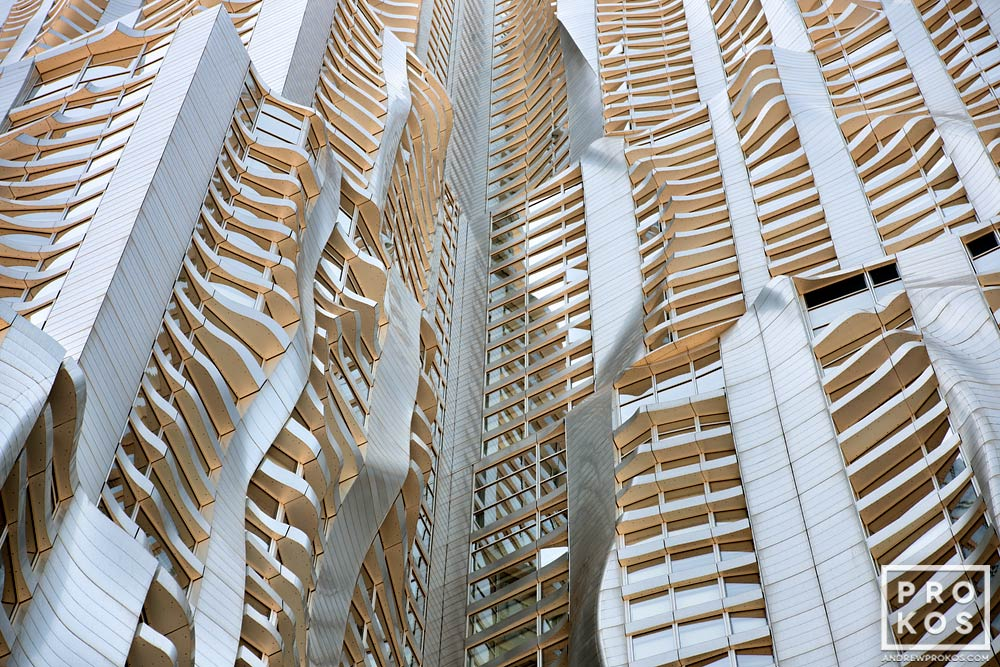 An architectural detail from the warped facade of 8 Spruce Street by Gehry Partners, Manhattan.