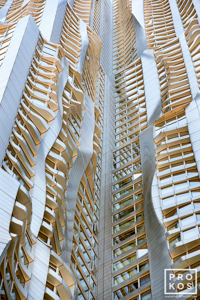 An architectural detail from the warped facade of 8 Spruce Street by Gehry Partners, Manhattan, New York City