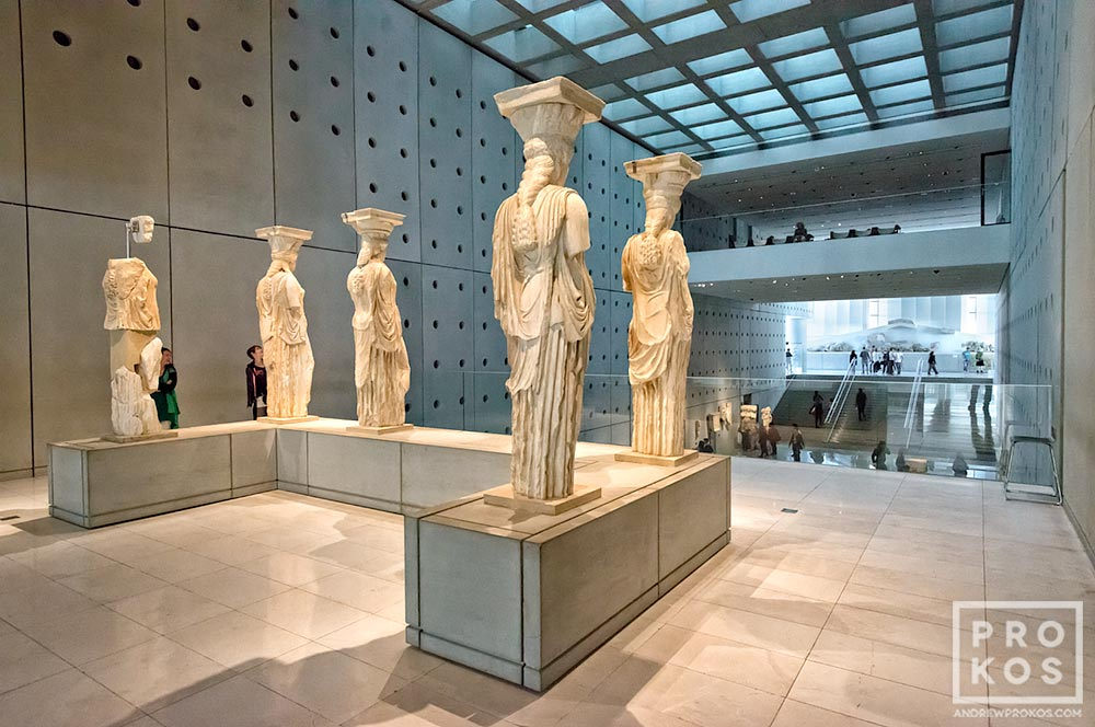 Caryatids in the Acropolis Museum in Athens, Greece. Bernard Tschumi Architect.