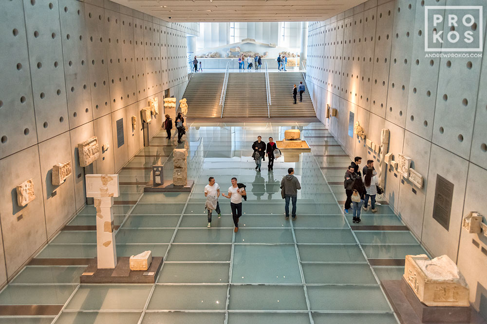 Interior of the Acropolis Museum in Athens, Greece. Bernard Tschumi Architect.