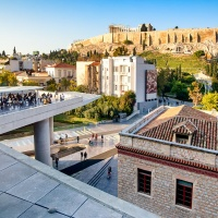 View of the Parthenon from the Acropolis Museum, Athens, Greece