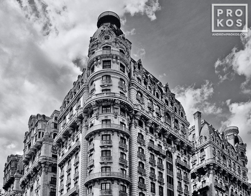 A black and white view of the Ansonia building, on Manhattan's Upper West Side, New York City
