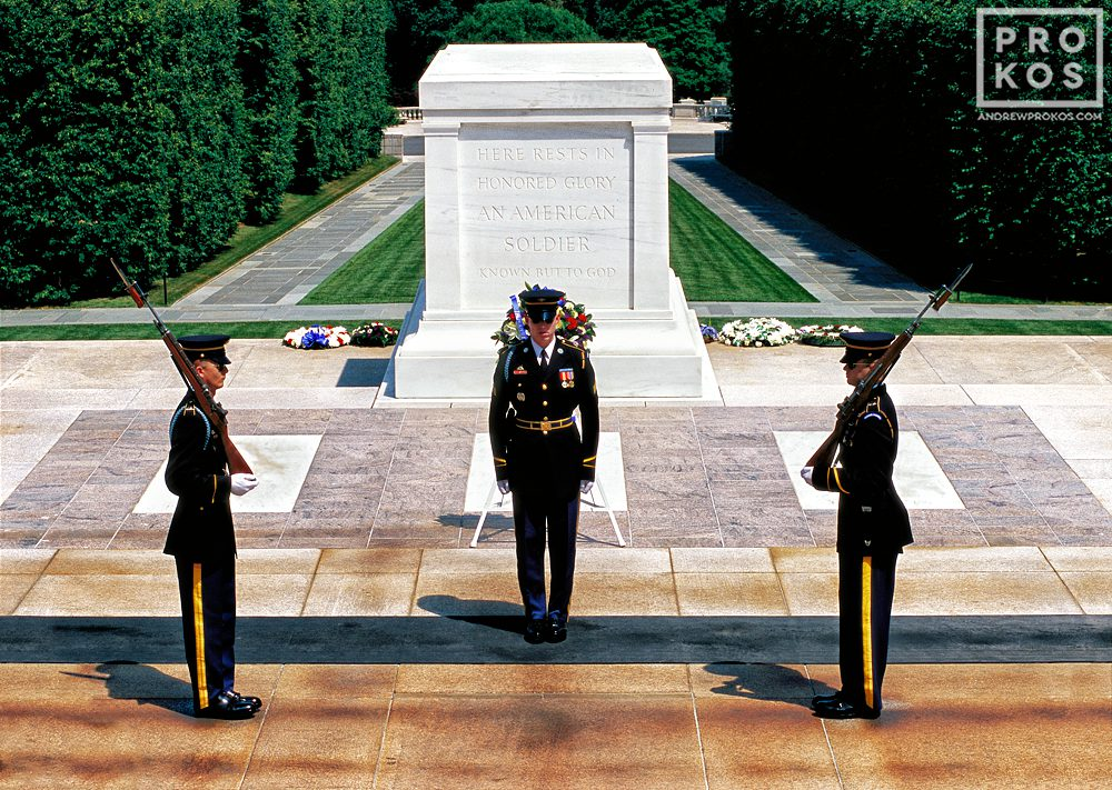 Changing of the guard at the Tomb of the Unknown Soldier, Arlington National Cemetery, Virginia