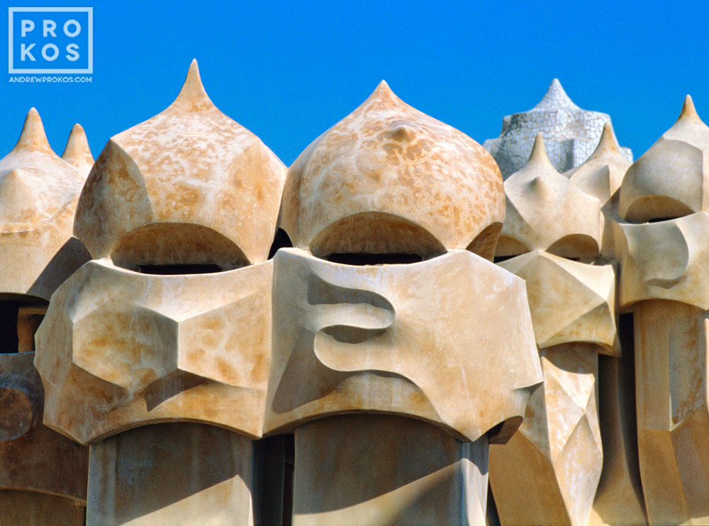 Modernist chimneys designed by Antoni Gaudi on the rooftop of the Casa Mila (La Pedrera), Barcelona, Spain