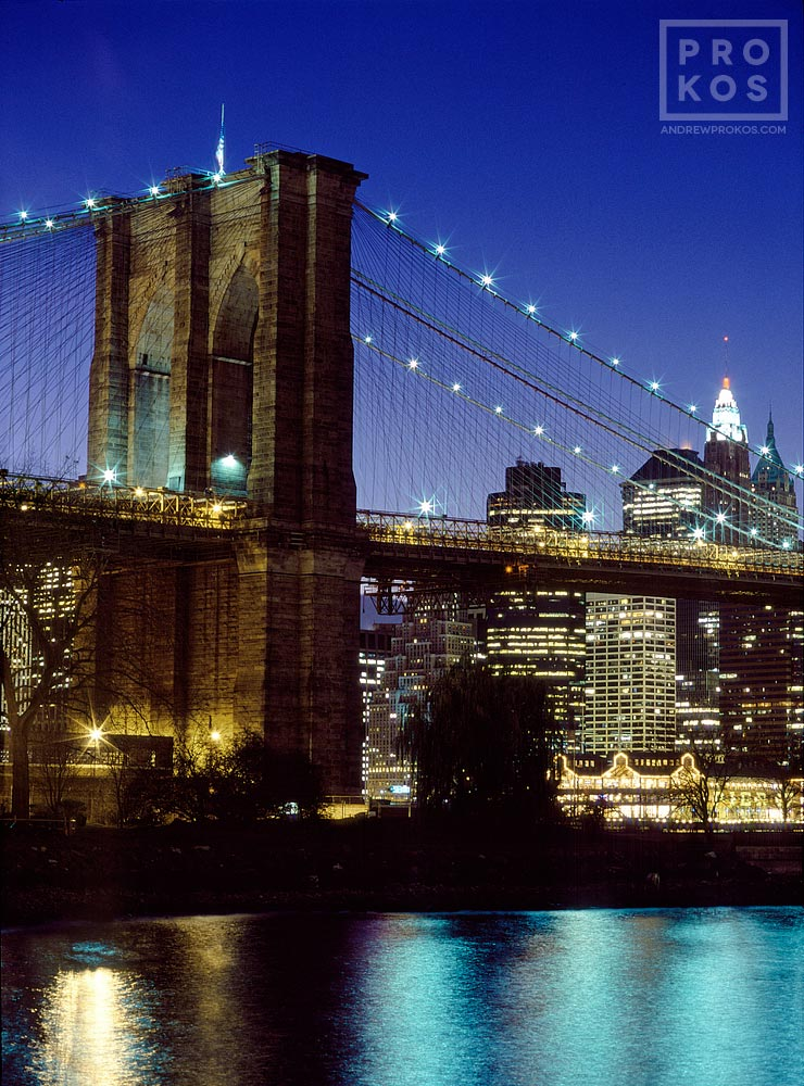 A view of the Brooklyn Bridge at night, New York City