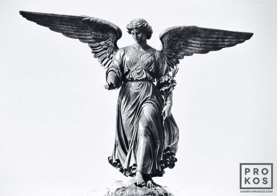 A black and white view of the Angel Fountain at Bethesda Terrace in New York's Central Park