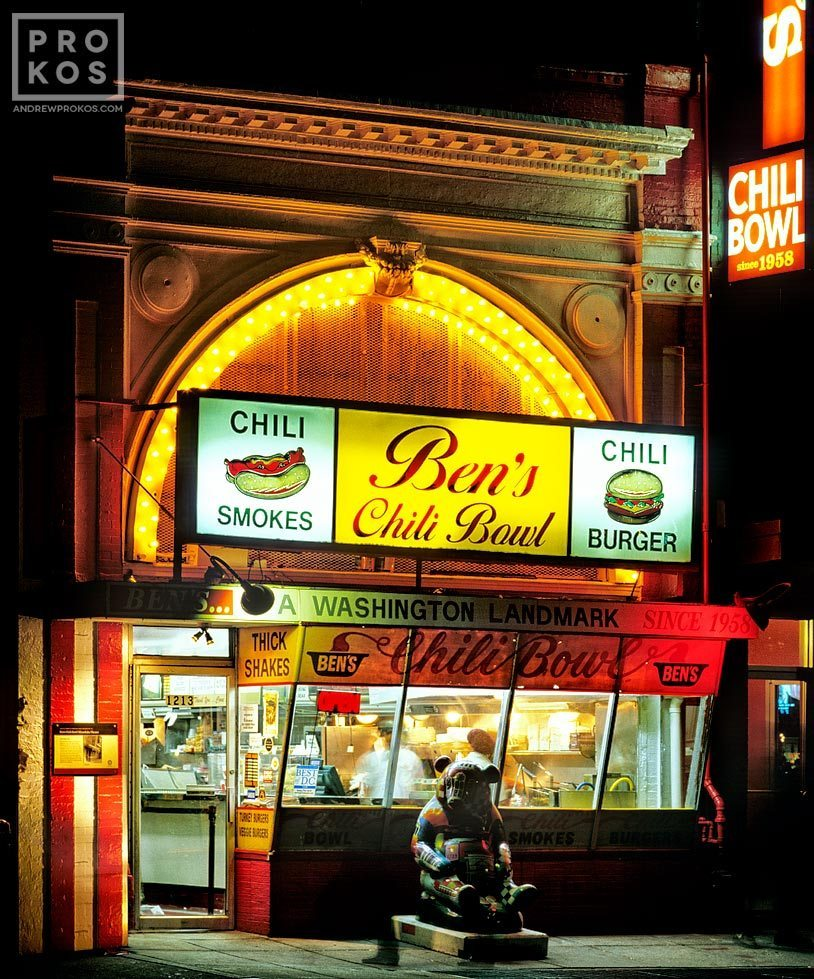 A view of Ben's Chili Bowl restaurant at night, Washington DC