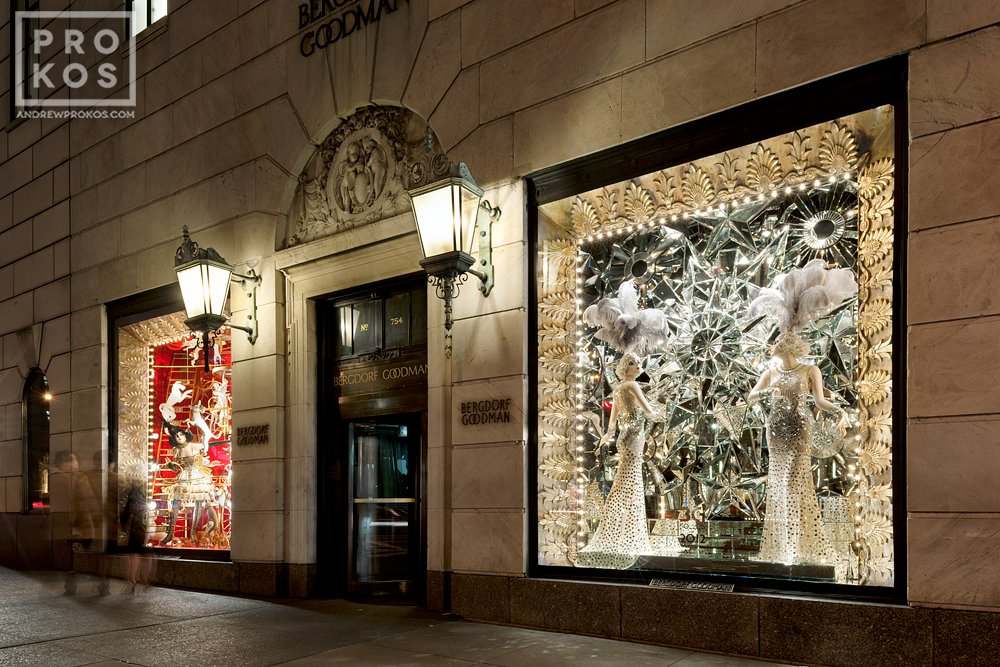 The Christmas windows at Bergdorf Goodman on New York's Fifth Avenue at night.